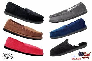 Mens House Shoes Slippers Moccasin Slip-on Corduroy Black Brown Red Navy Gray