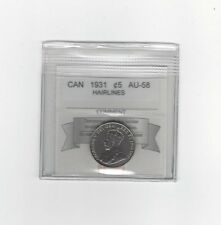 1931, Coin Mart Graded Canadian,  5 Cent **AU-58**