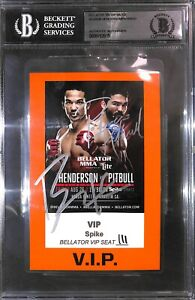 Benson Henderson & Patricio Pitbull Freire Signed Bellator 160 Pass BAS COA UFC