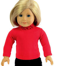 """For 18"""" American Girl Doll Clothes Red Long Sleeve T-Shirt Ruffle Neck"""