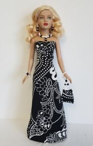 TINY KITTY CLOTHES - Gown, beaded Purse & Jewelry Set HM Fashion NO DOLL d4e