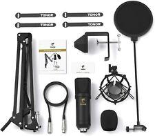 Kondensatormikrofon Tonor XLR Mikrofon Set Aufnahme Popfilter Equipment Schwarz