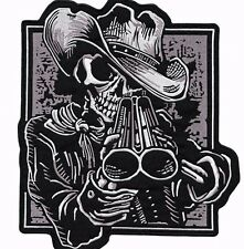 "12.5"" Double Barrel Shotgun Skeleton Large Motorcycle Jacket Patch Bandito"