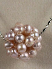 Real Black White Pink Purple Freshwater Pearl 20mm Ball Pendant 18KWGP Necklace