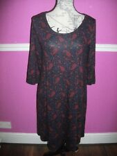 MONSOON BLACK BLUE RED PAISLEY STRETCH TUNIC DRESS TOP SCOOP NECK 14 3/4 SLEEVES