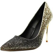 Zapatos de tacón de mujer de tacón alto (más que 7,5 cm) de color principal oro de lona