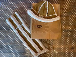 UGG Hat And Scarf Set   Tan Brown With UGG fur And Box