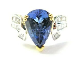 18Kt Natural Pear Shape Tanzanite & Diamond 2-Tone Ring 3.27Ct