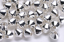 100 SILVER PLATED DOUBLE CONE BICONE BEADS 4MM