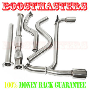 """For 03-05 Neio SRT4 2.4T 4.6"""" Dual Muffler Tip Exhaust Catback System+Downpipe"""