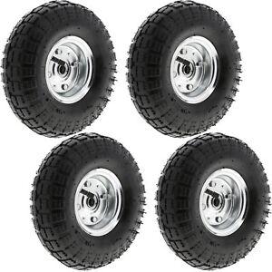 "4 Pack of 10"" Pneumatic Sack Truck Trolley Wheel Barrow Tyre Wheels 4.10/3.5-4.0"