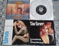 """4 X Tina Turner 7"""" Singles. 3 Picture Sleeve All Vinyl Excellent"""