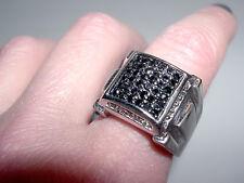 Men's Bold Sterling Silver~Black & White CZ Bulky Square Ring~Sz 9~16G