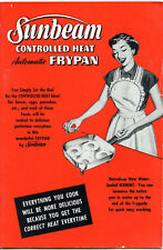 SUNBEAM Controlled Heat AUTOMATIC FRYPAN Instruction and Recipe Book  1953