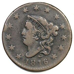 1816 N-4 R-2 Matron or Coronet Head Large Cent Coin 1c