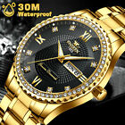 Waterproof Men Diamond Gold Quartz Watch Stainless Steel Relojes Hombre Business