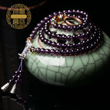 Purple Crystal 108 Beads buddha bead Multilayer Beaded Bracelet Prayer Beads S58