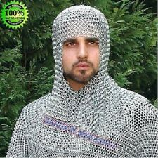 Aluminium Chainmail Chain Mail Coif Armor Hood for Hauberk 10mm Butted