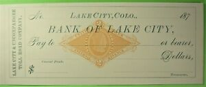 Unused bank check on Lake City & Uncompahgre Toll Road Co. Lake City, Colo. 187_