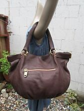 LINEA PELLE ANTHROPOLOGIE LARGE BROWN PEBBLED LEATHER TOTE HOBO HAND BAG PURSE