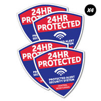 4x 24Hr Protected Security Sticker Decal Safety Sign Car Vinyl #6031K
