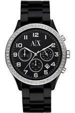 **NEW** LADIES ARMANI EXCHANGE AX BLACK CRYSTAL RESIN WATCH - AX5104 - RRP £199
