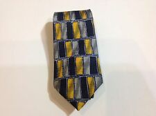 Danielli Tie Cobalt Blue Gray & Black Woven Mens Silk Necktie New
