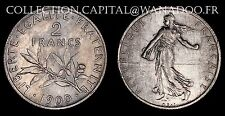 2 Francs Semeuse 1900 RARE avec patine Cote Sup 500€. Vendu avec certificat