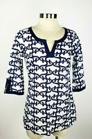 Old Navy Women's XSmall Blue Print 3/4 Sleeve V-Neck Tunic Peasant Top Shirt XS