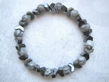 MENS LANDSCAPE JASPER & HEMATITE CHEVRON Gemstone Beaded Stretch Bracelet Grey