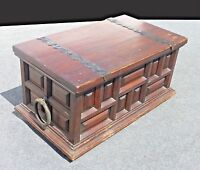Vintage Spanish Style Rustic Wood Storage Chest Trunk w Wrought Iron Hardware