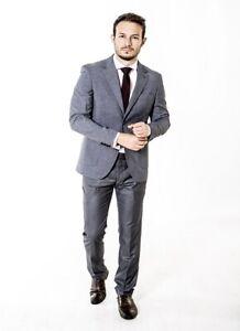 Mens Formal Suit slim fit suit in Grey Wholesale Price Wedding Work Party Office