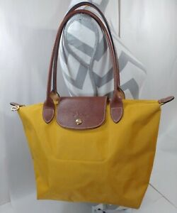 LONGCHAMP France Le Pliage Folds Expands Mustard Yellow Tote Bag Brown Leather