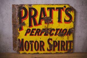 Pratt's Perfection Motor Spirit double sided antique vintage pratts enamel sign