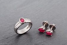 Ruby and Diamond Ring and Earrings set *Certificate*