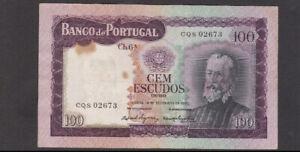 100 ESCUDOS VERY FINE  BANKNOTE FROM PORTUGAL 1961 PICK-165 RARE