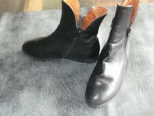 Ladies flat black leather ankle boots side zips detail used size 3.5 VAN DAL