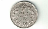 CANADA 1915 TEN CENTS DIME KING GEORGE V STERLING SILVER COIN CANADIAN