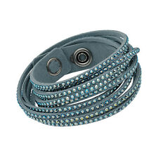 Swarovski Slake 5046391 Light Blue Alcantara Wrap Bracelet w/ Mixed Crystals