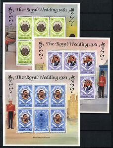 Sierra Leone 1981 SG#671-3 Royal Wedding MNH Sheetlets Set #D36598