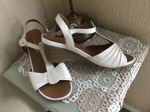 M&S Cream Footglove Sandals 7.5 ( worn once) low wedge heel