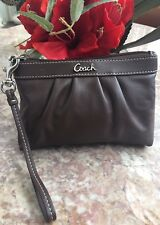 COACH PLEATED BROWN LEATHER CLUTCH WRISTLET CLUTCH EUC, MSRP $78
