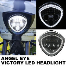 60W LED Halo Angel Eye Headlight H/L Beam For VICTORY Cross Country/Roads Black