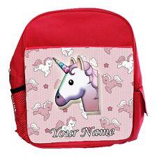 Girls Red Cute Unicorn Personalised Childs School Bag, Kids, Rucksack, Backpack