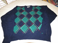 Lord Jeff Virgin Lambswool navy blue grn Mens long sleeve XL sweater shirt EUC@