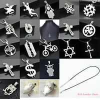 Fashion Unisex Pendant Necklace Chain Silver Stainless Steel Statement Jewelry