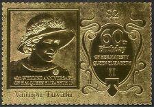 Tuvalu 1987 GOLD/Queen Elizabeth II/Royalty/QE II/Birthday/Wedding 1v s/a n42886