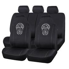 Universal Car Seat Covers Black Skull Pattern 60/40 50/50 for Honda Ford VW Kia