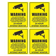 4Pcs Warning Sign Decal Sticker for 24 Hour CCTV Security Camera Surveillance