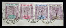 MAR 3 1896 Four Zululand Stamps 15 16 17 18 on piece